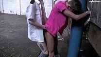 Novinho sendo abordado por policial e fazendo sexo em pé